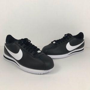 Men's Cortez Basic Leather Black White Size 9.5 13